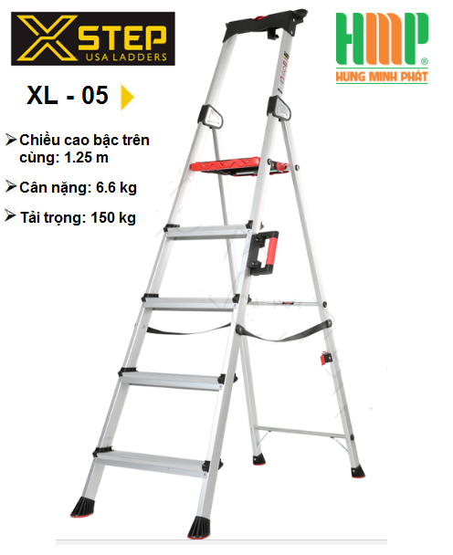 thang nhôm ghế 5 bậc cao cấp của Xstep.